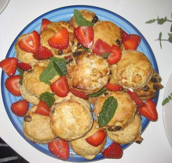 Fruit Scones with mint and strawberries.JPG